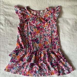 Joe fresh floral ruffle tiered dress pink 18-24 m